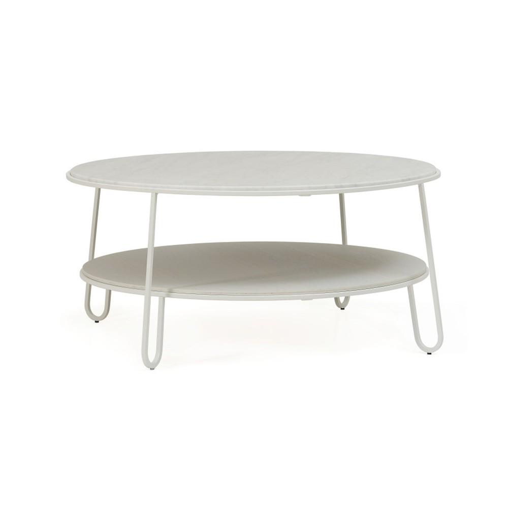 Biely konferenčný stolík s mramorovou doskou HARTÔ Eugénie, ⌀90cm