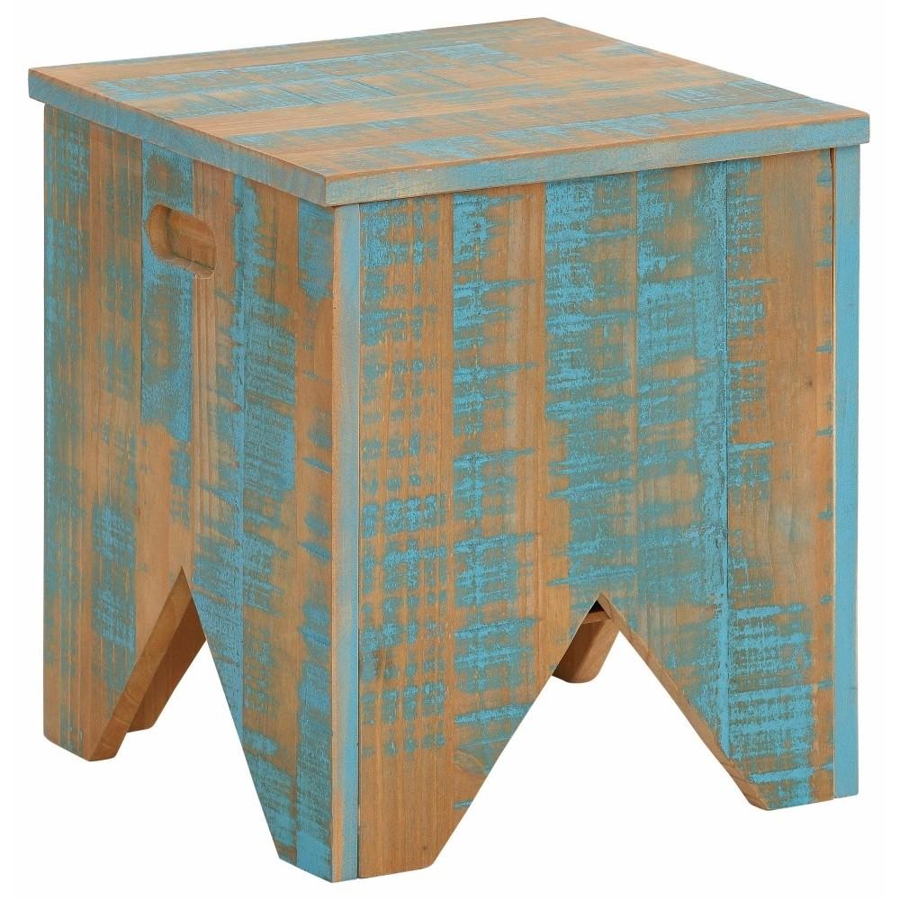Tyrkysová úložná truhlica z masívneho borovicového dreva Støraa Marilyn