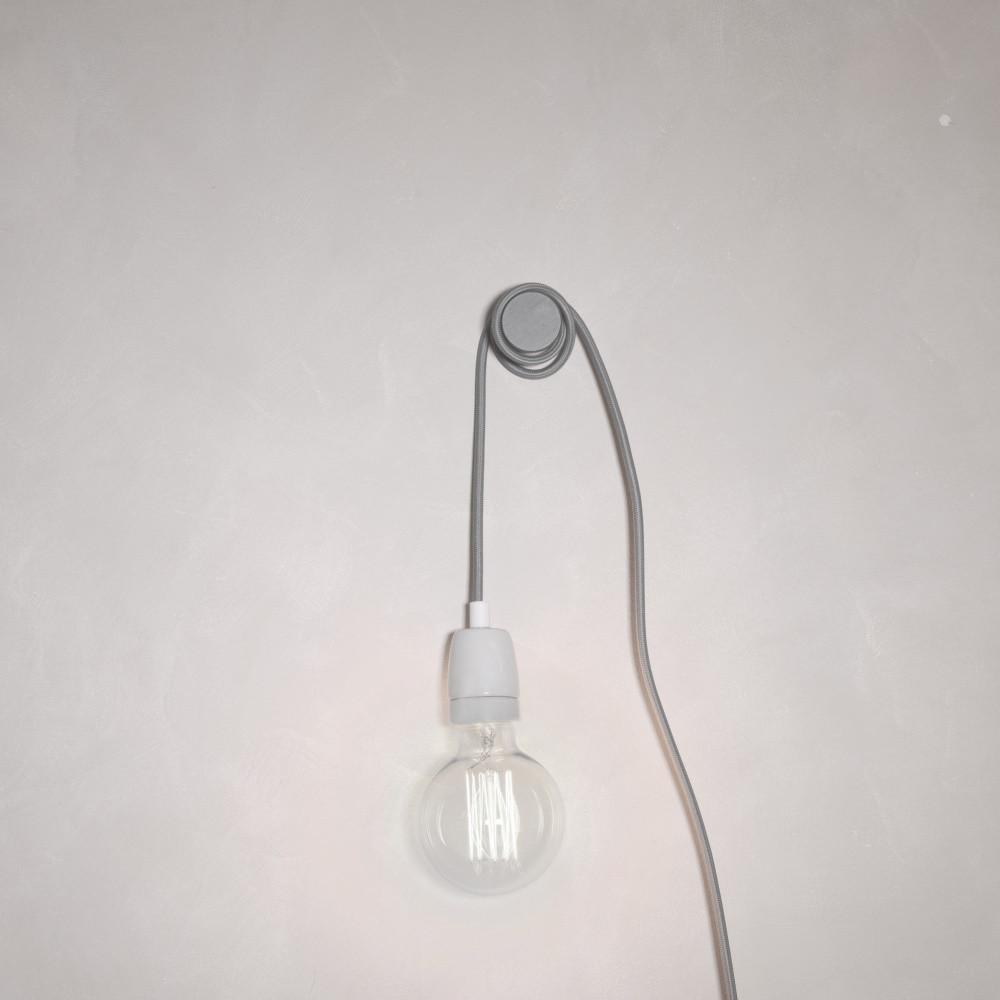 Sivý textilný kábel s objímkou Filament Style Cable