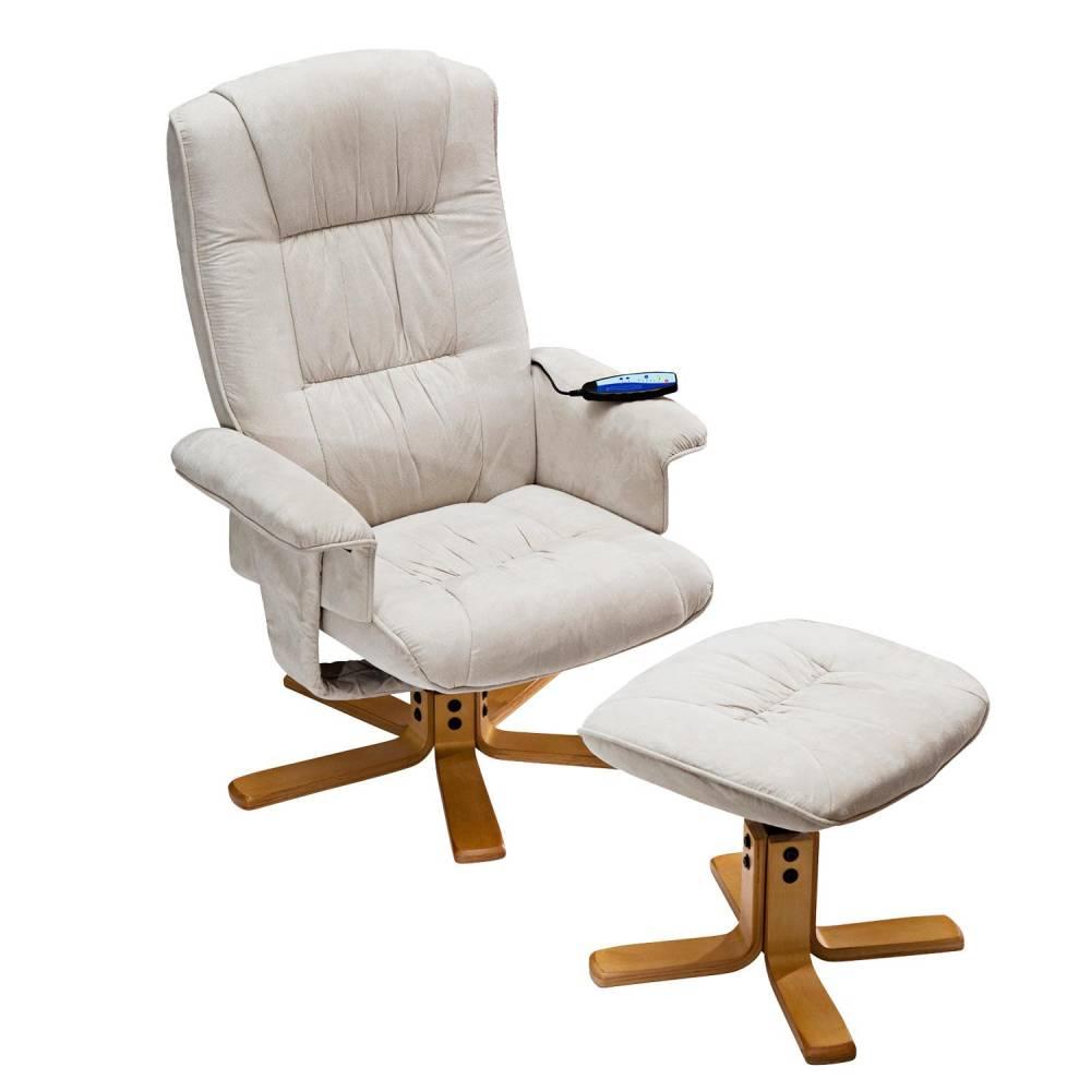 Relaxačné masážne kreslo s podnožkou béžové