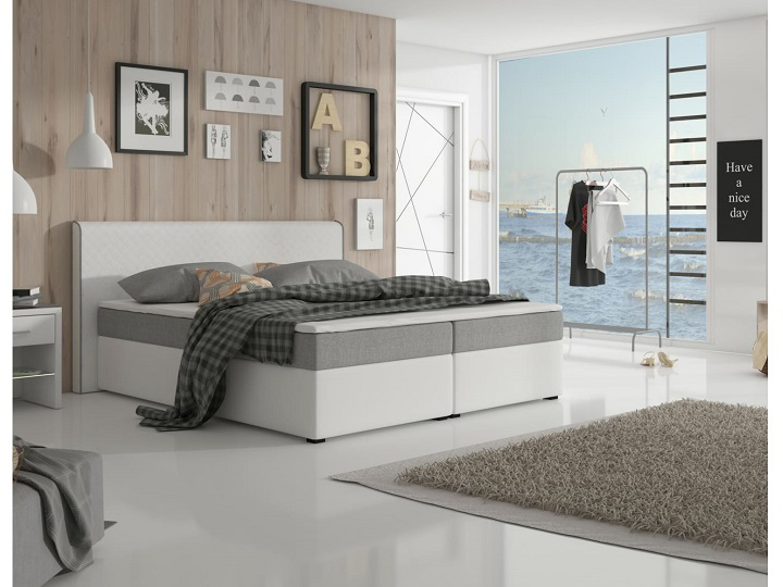 Manželská posteľ Boxspring 180 cm Novara komfort (biela + sivá) (s matracom a roštom)