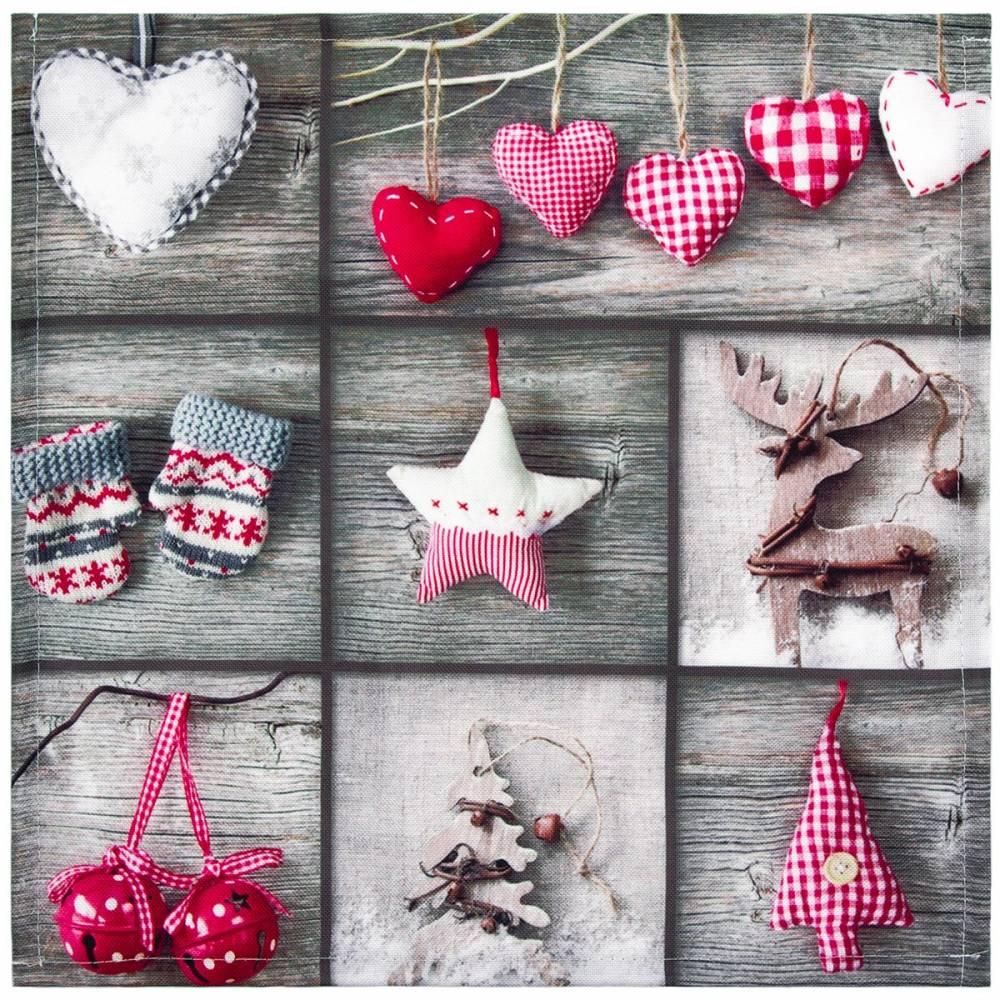 Forbyt Vianočný obrus Ozdôbky patchwork, 35 x 35 cm