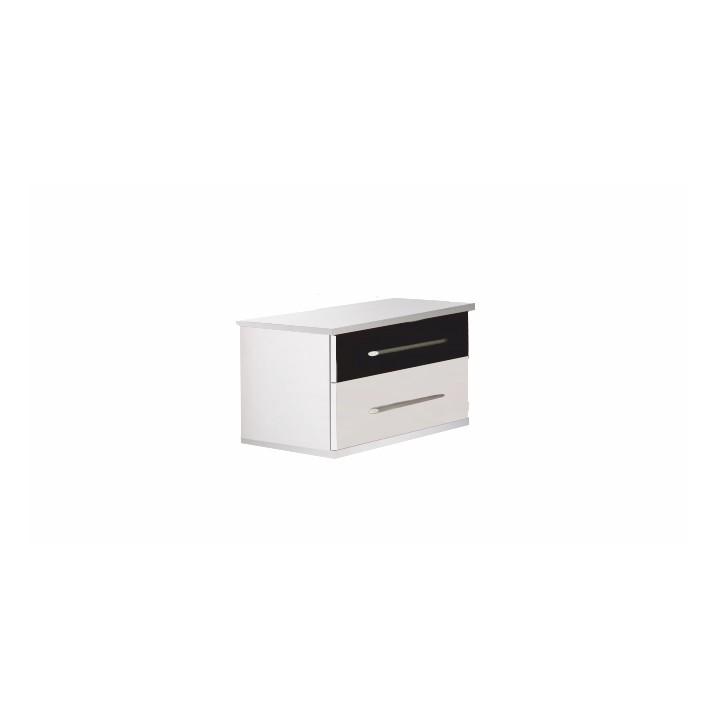 TEMPO KONDELA Nočný stolík (2 ks), biela/čierna, Rublin