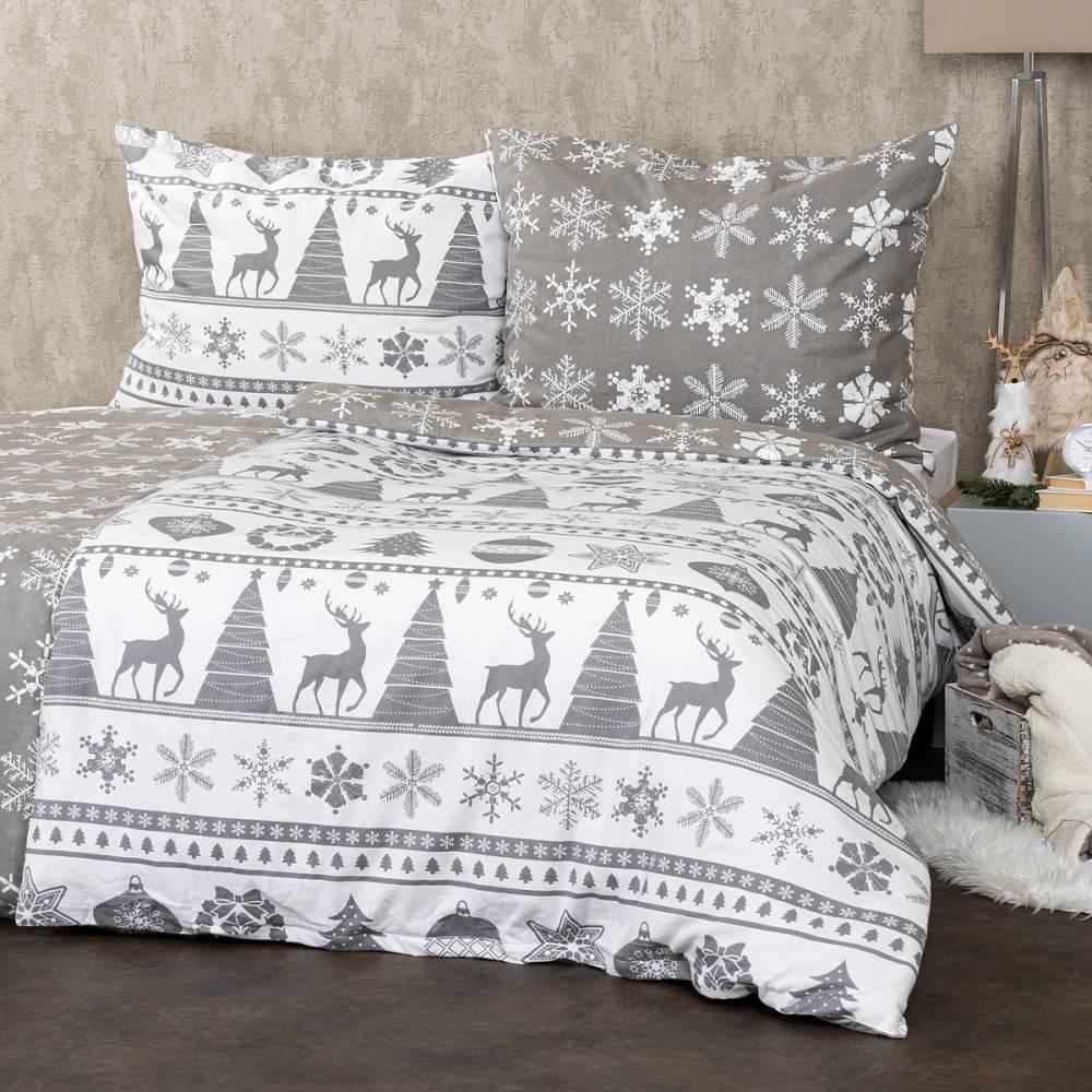 4Home Flanelové obliečky Christmas Time sivá, 160 x 200 cm, 70 x 80 cm