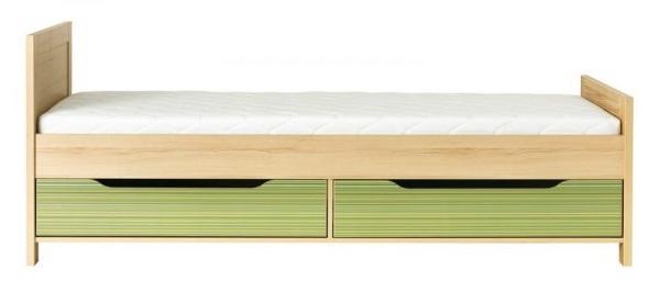 BOG-FRAN CODI CD 15 posteľ s CD 16 zásuvkou - višňa cornwall / rainbow zelená