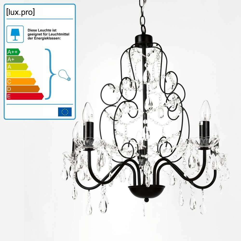 [lux.pro]® Elegantný luster – päťramenná stropná lampa – 5 x E14 - čierna