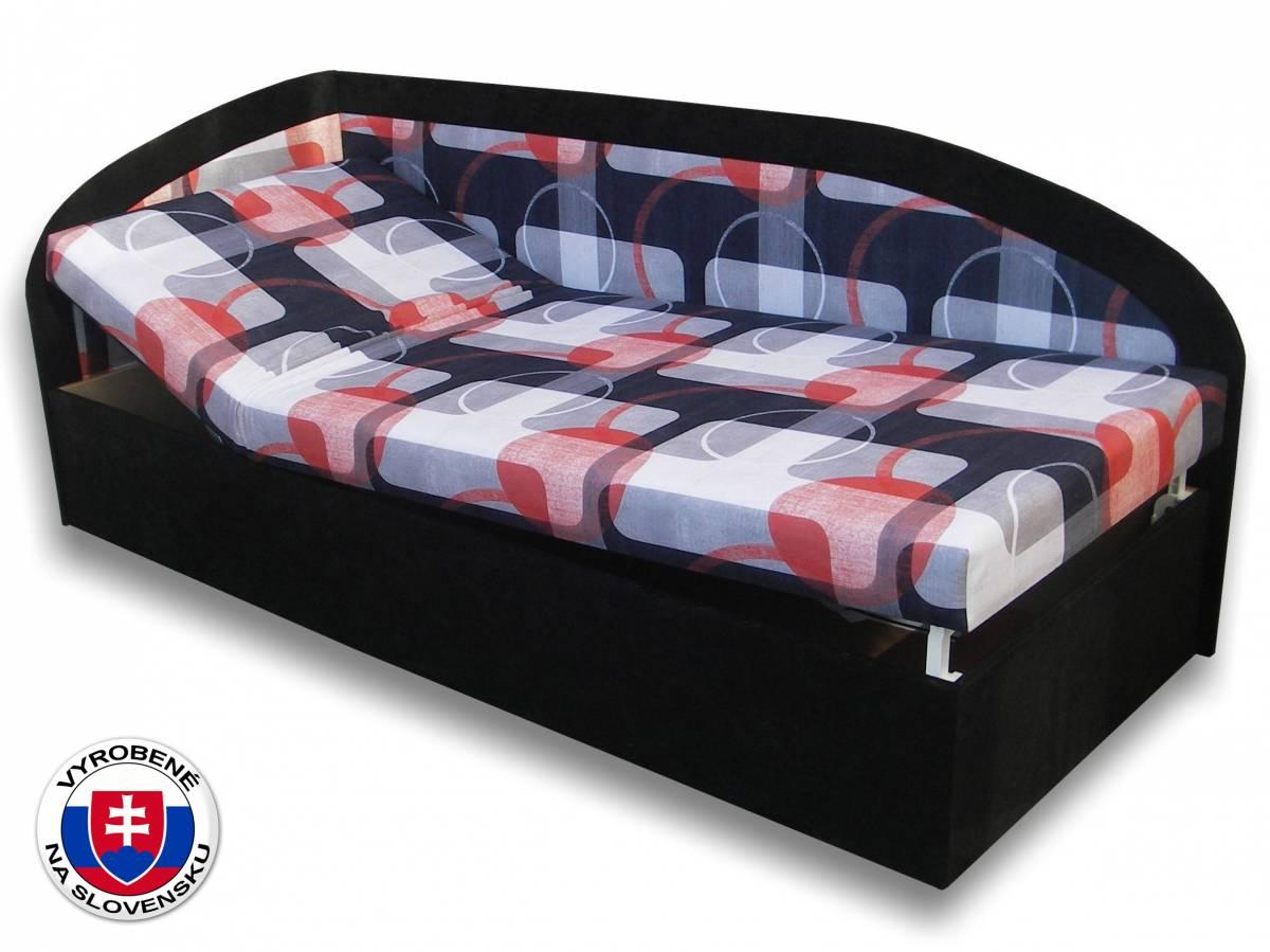 Jednolôžková posteľ (váľanda) 90 cm Kamila (Čierna 39 + Mimi 21) (L)