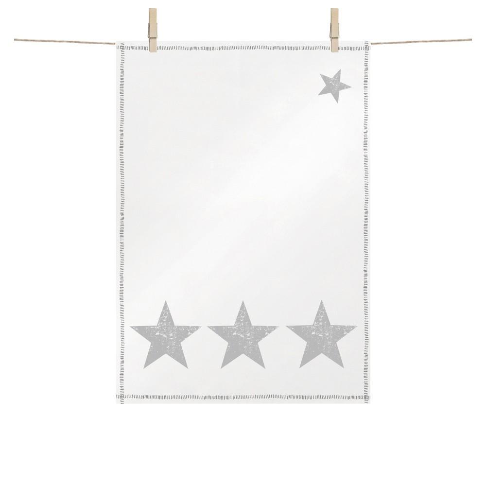 Bavlnená kuchynská utierka s vianočnými motívmi v striebornej farbe PPD Star Fashion Silver, 48 × 68 cm