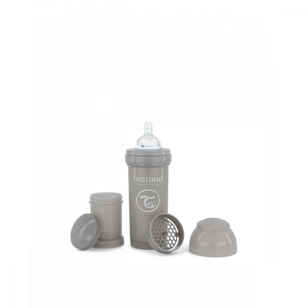 Twistshake Dojčenská fľaša Anti-Colic 260 ml, sivá