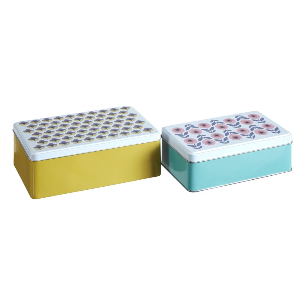 Sada 2 cínových úložných boxov Premier Housewares Joni, 13×20 cm
