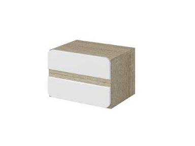 Nočný stolík Typ 22 (dub sonoma svetlá + biely lesk)