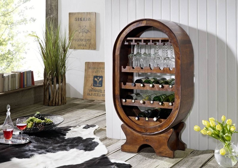 OXFORD #533 Kolonial regál na víno, masívny agátový nábytok