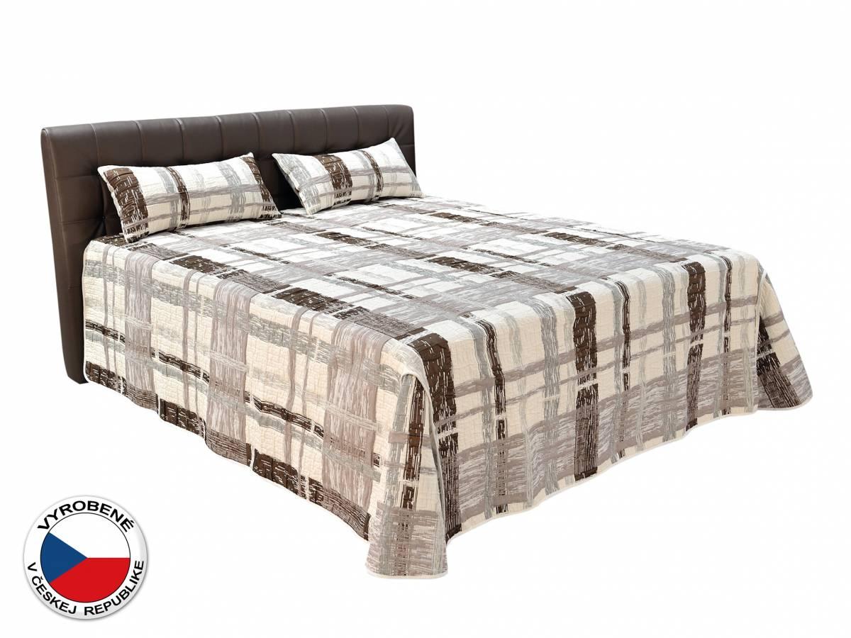 Manželská posteľ 180 cm Blanár Monaco (hnedá) (s roštami, matracmi, prehozom a vankúšmi)
