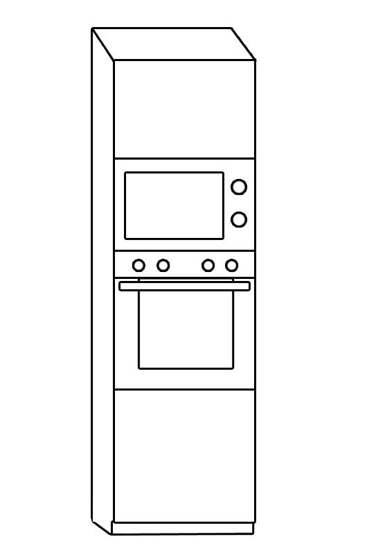 CORA na vstavanú rúru a mikrovlnku DKMS60, Biely lesk/Sonoma