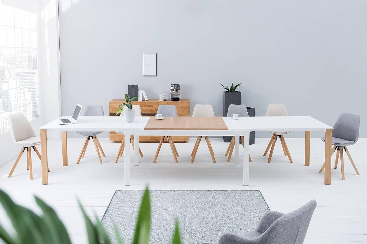 Bighome - Jedálenský stôl GOLAT 180-420 cm - biela, prírodná
