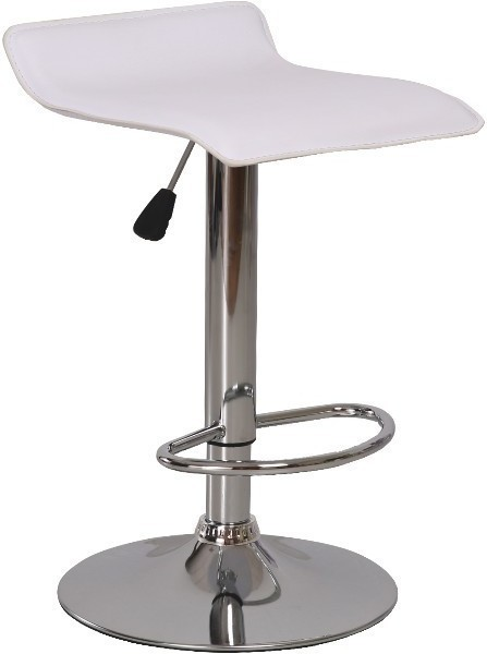 Barová stolička, ekokoža biela/chróm, LARIA