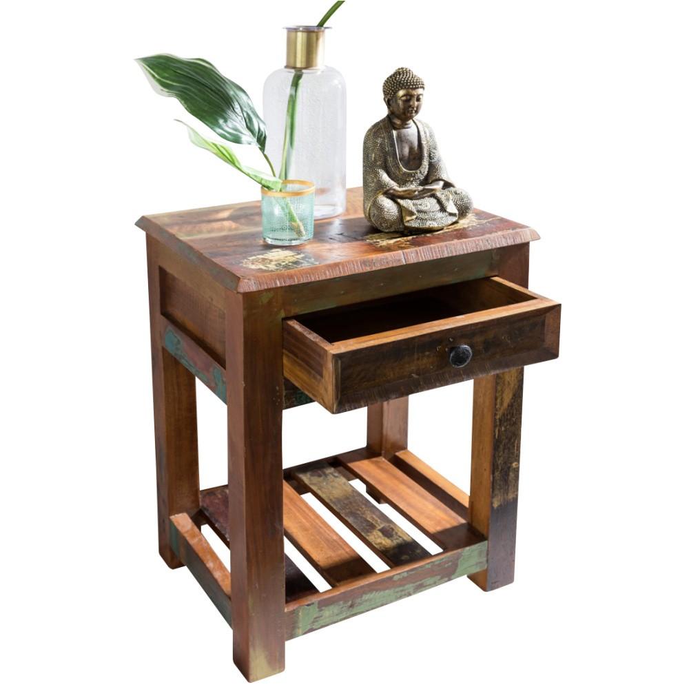 Nočný stolík so zásuvkou z recyklovaného mangového dreva Skyport DELHI, výška 60 cm