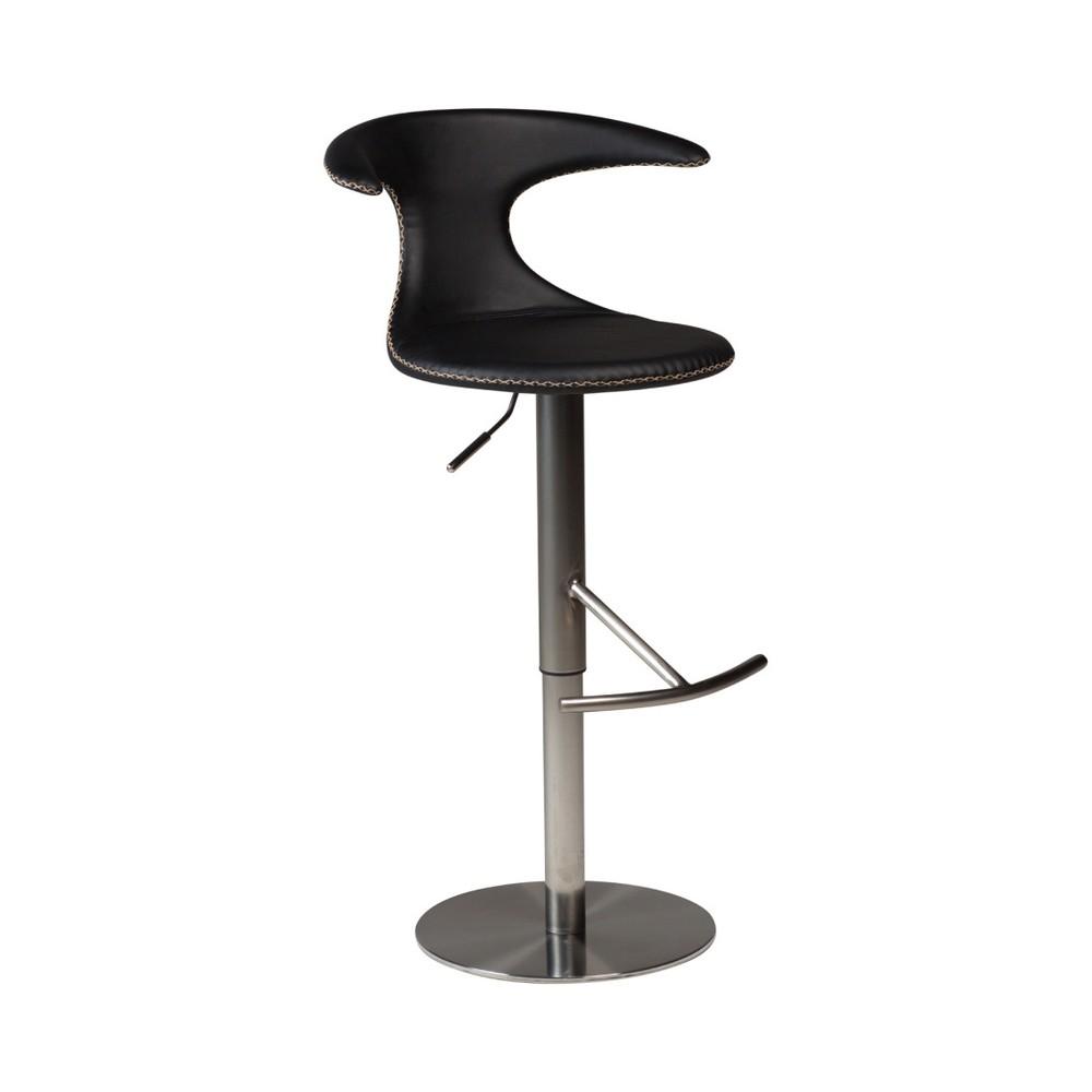 Čierna barová nastaviteľná stolička s koženým sedadlom DAN-FORM Denmark Flair