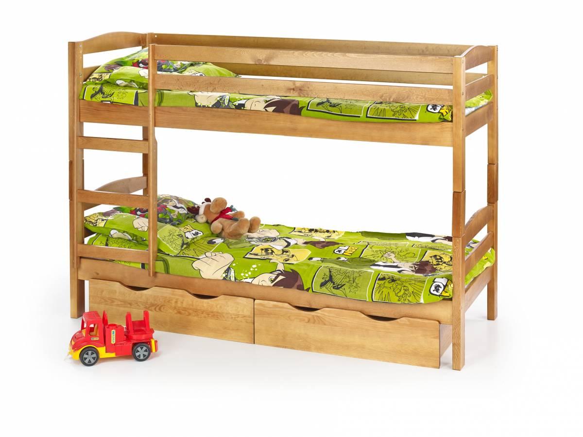 Poschodová posteľ 80 cm Sam Jelša (masív, s roštom a matracom)