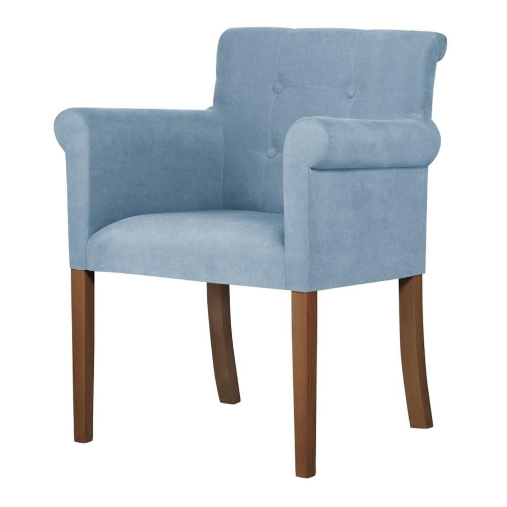 Svetlomodrá stolička s tmavohnedými nohami Ted Lapidus Maison Flacon
