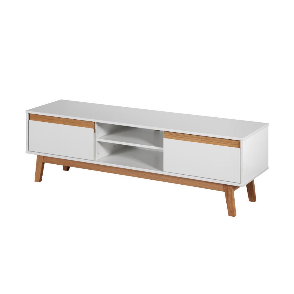 Biela TV komoda s podnožou a drevenými detailmi Dřevotvar Ontur 01