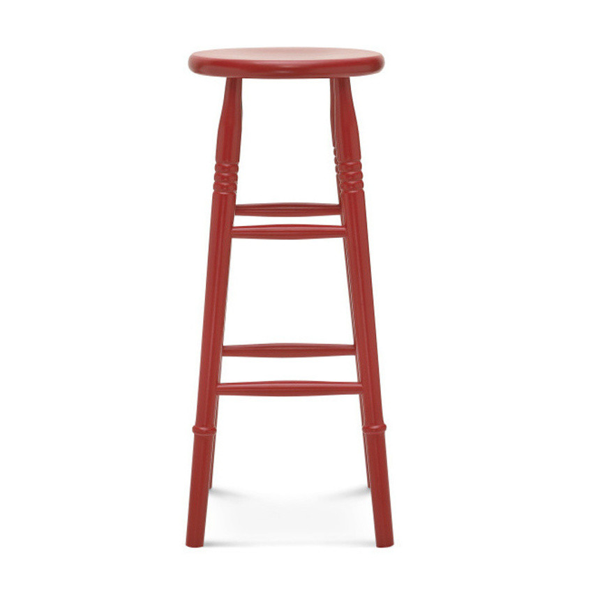 Červená barová drevená stolička Fameg Iver