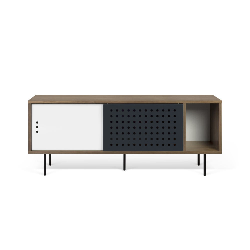 TV komoda v dekore orechového dreva s čierno-bielymi detailmi TemaHome Dann Dots, dĺžka 165 cm
