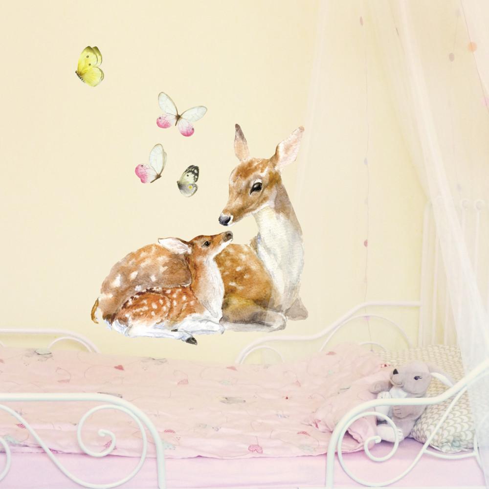 Samolepka na viac použití Deer Family, 40x40 cm
