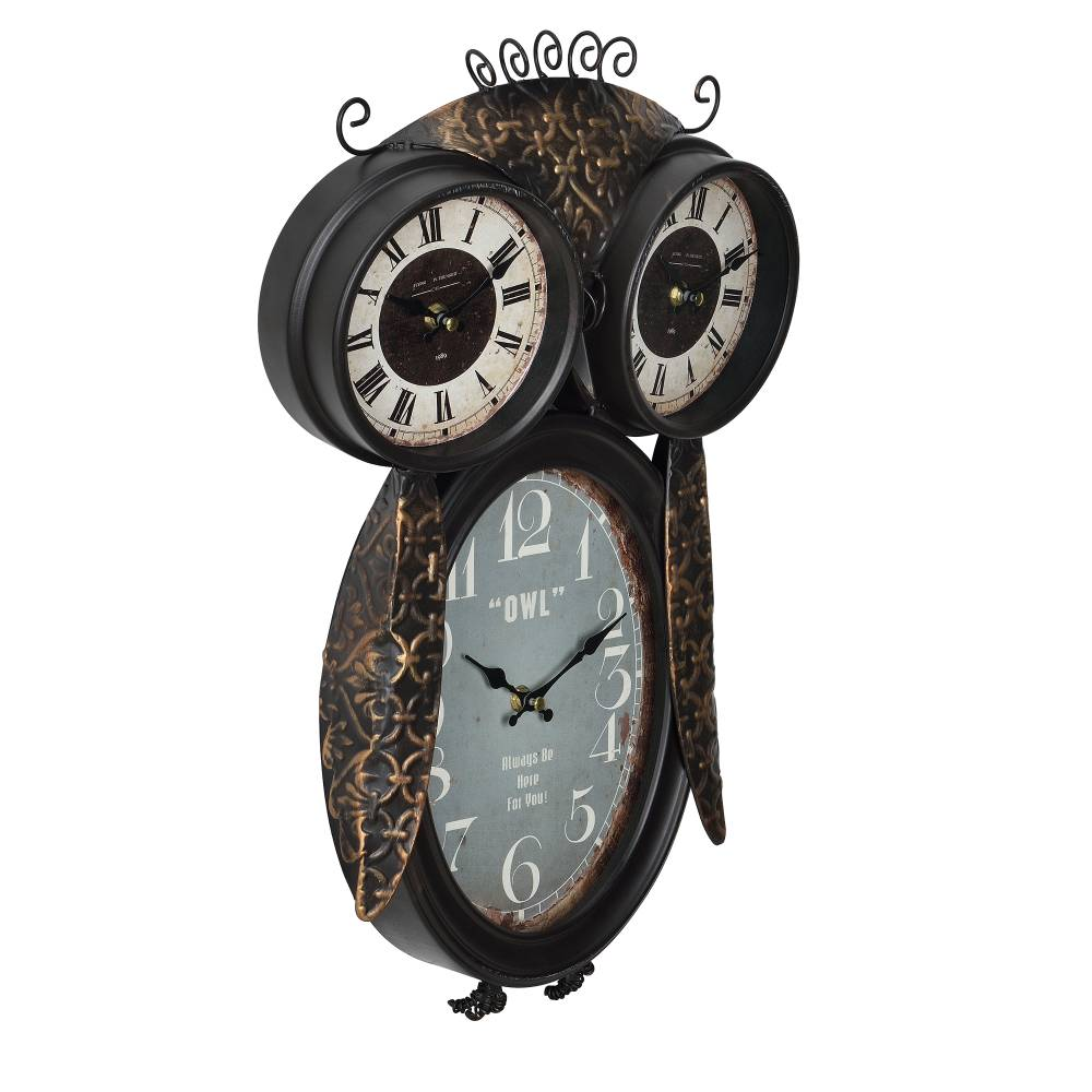 [en.casa]® Nástenné hodiny v tvare sovy - analógové - 32 x 8 x 52 cm - farebné - sklo