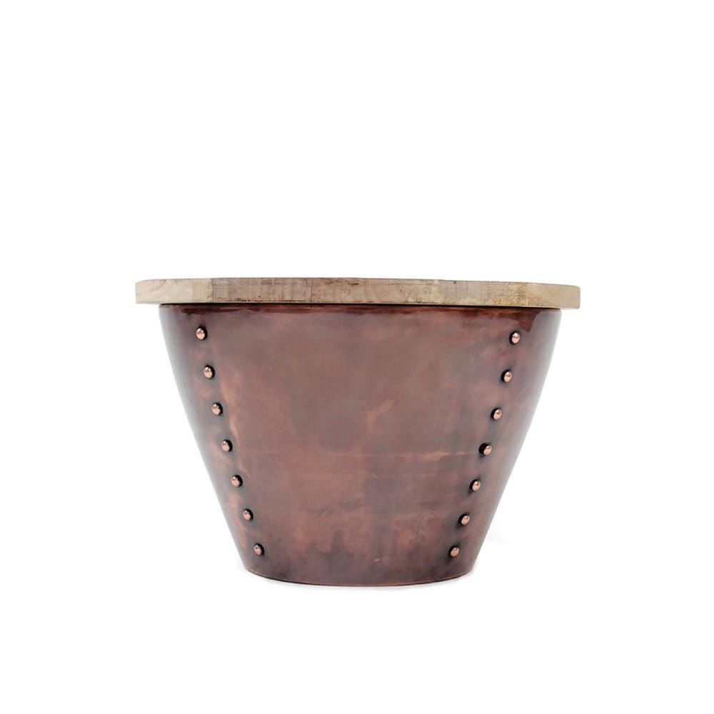 Príručný stolík v medenej farbe s doskou z mangového dreva LABEL51 Indi, Ø 46 cm