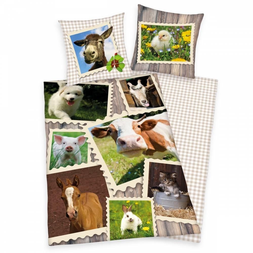 Herding Bavlnené obliečky Zvieratká na farme, 140 x 200 cm, 70 x 90 cm