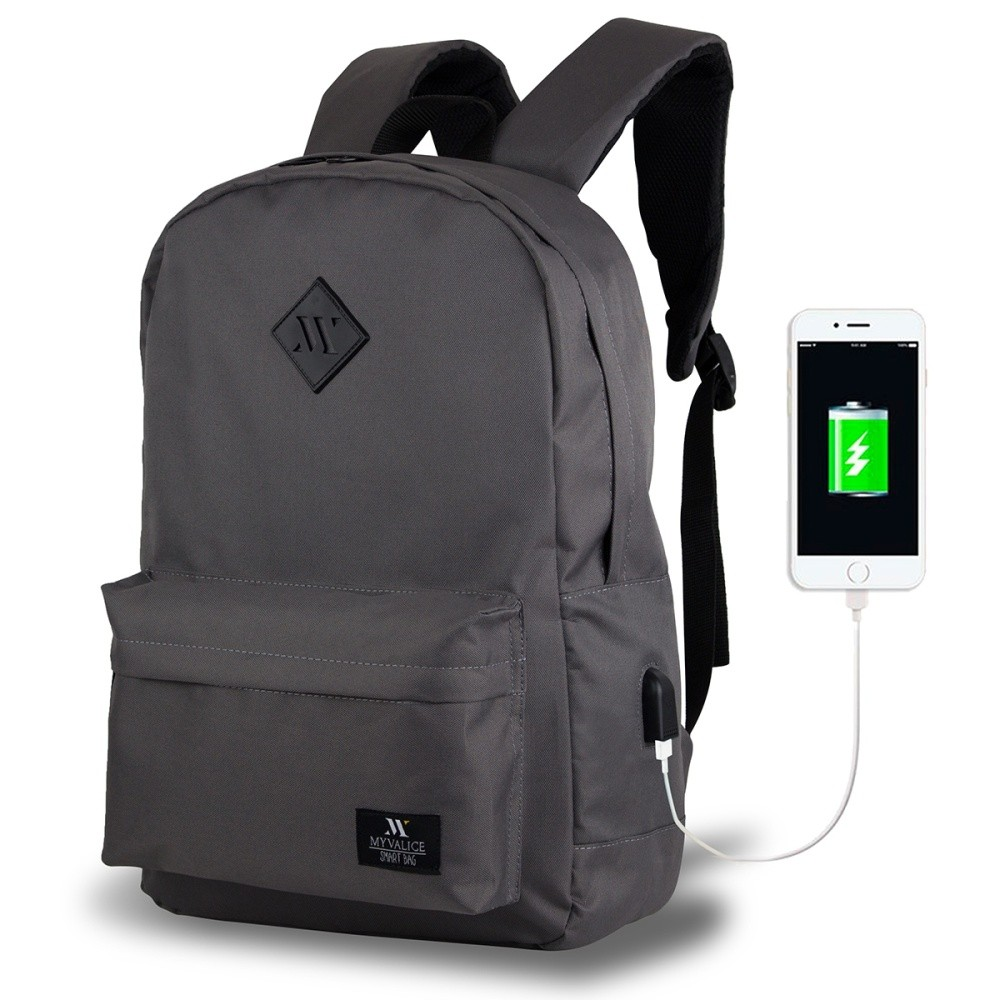 Sivý batoh s USB portom My Valice SPECTA Smart Bag