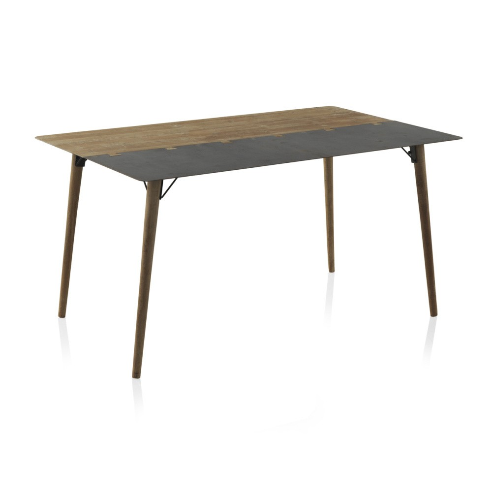Drevený jedálenský stôl s kovovými nohami Geese, 150 x 90 cm