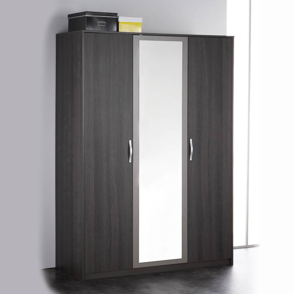 Skříň 3 dveřová GRAPHIC tmavý dub/šedá