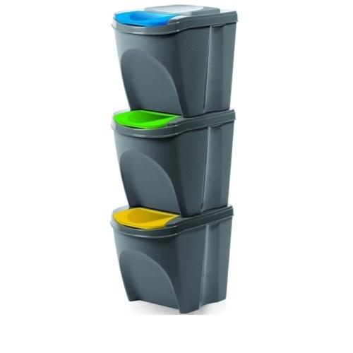 Kôš na triedený odpad Sortibox 20 l, 3 ks, sivá IKWB20S3405u