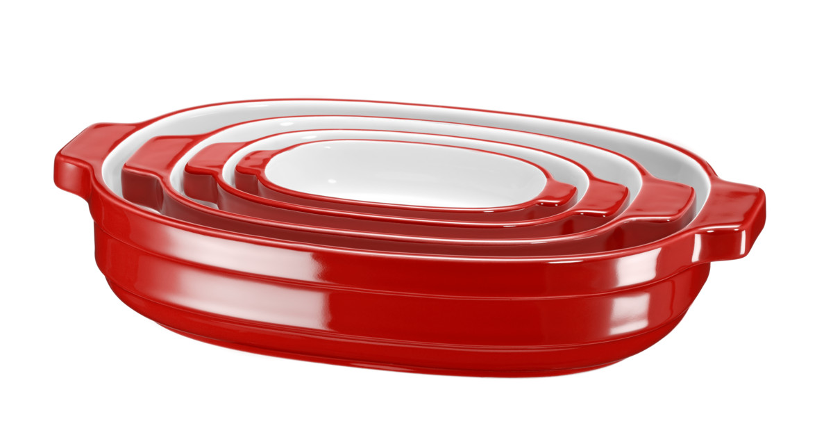 Sada keramických pekáčov KitchenAid kráľovská červená 4 ks