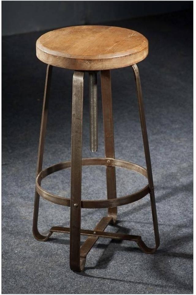 INDUSTRIAL taburetka #20, liatina a staré drevo