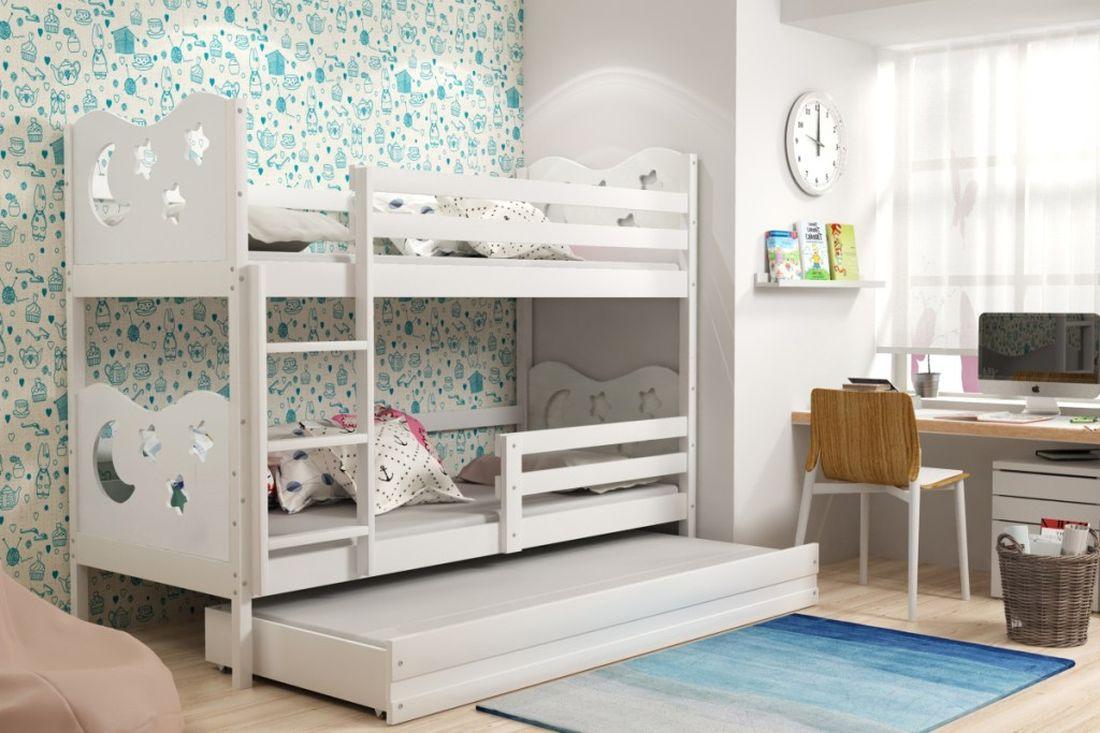 Poschodová posteľ KAMIL 3 + matrac + rošt ZADARMO, 90x200, biela/biela