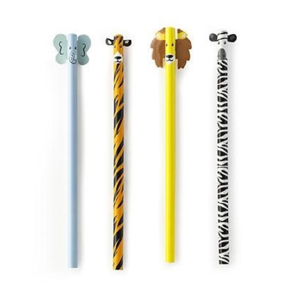 Sada 4 ceruziek Kikkerland Safari