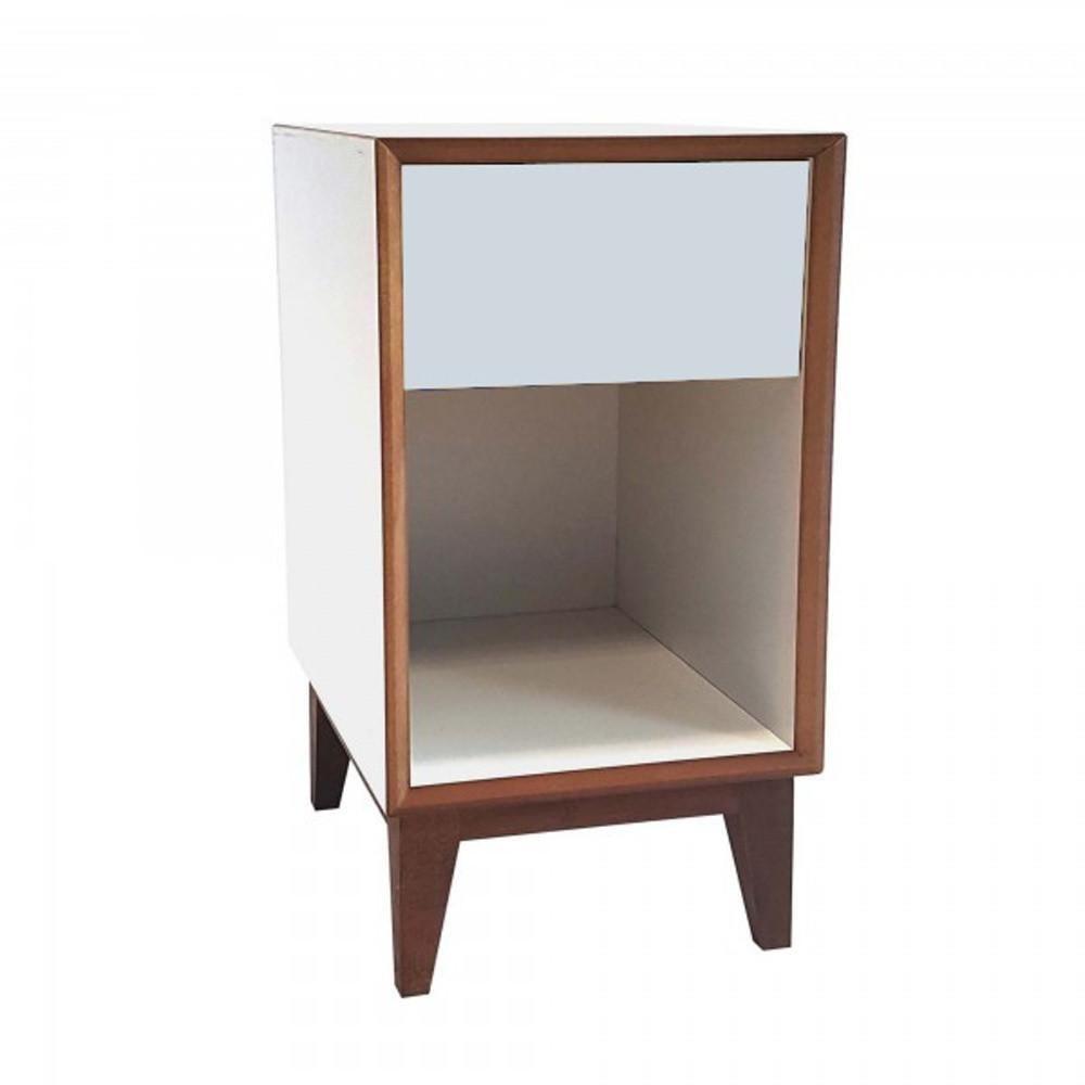 Veľký nočný stolík s bielym rámom a svetlosivou zásuvkou Ragaba PIX