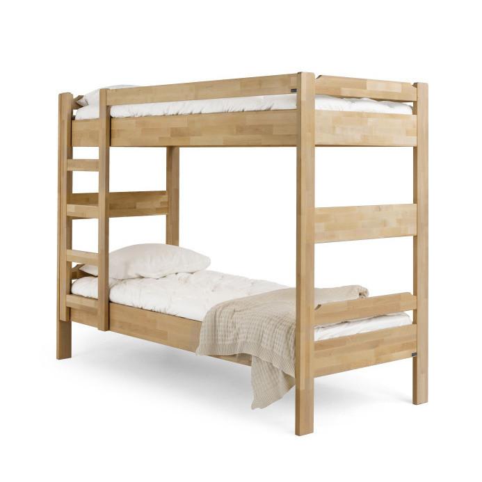 Tmavšia ručne vyrobená poschodová posteľ z masívneho brezového dreva Kiteen Kuusamo, 80 x 200 cm