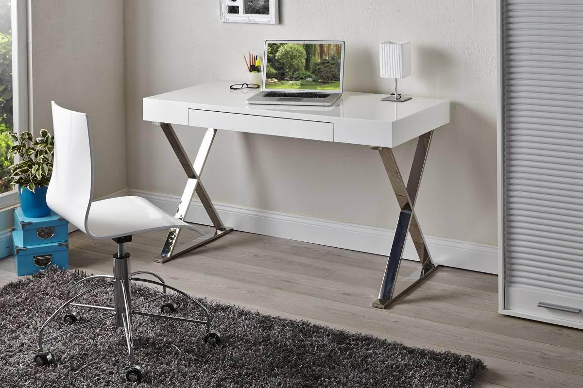 Písací stôl GREISE - biela vysoký lesk