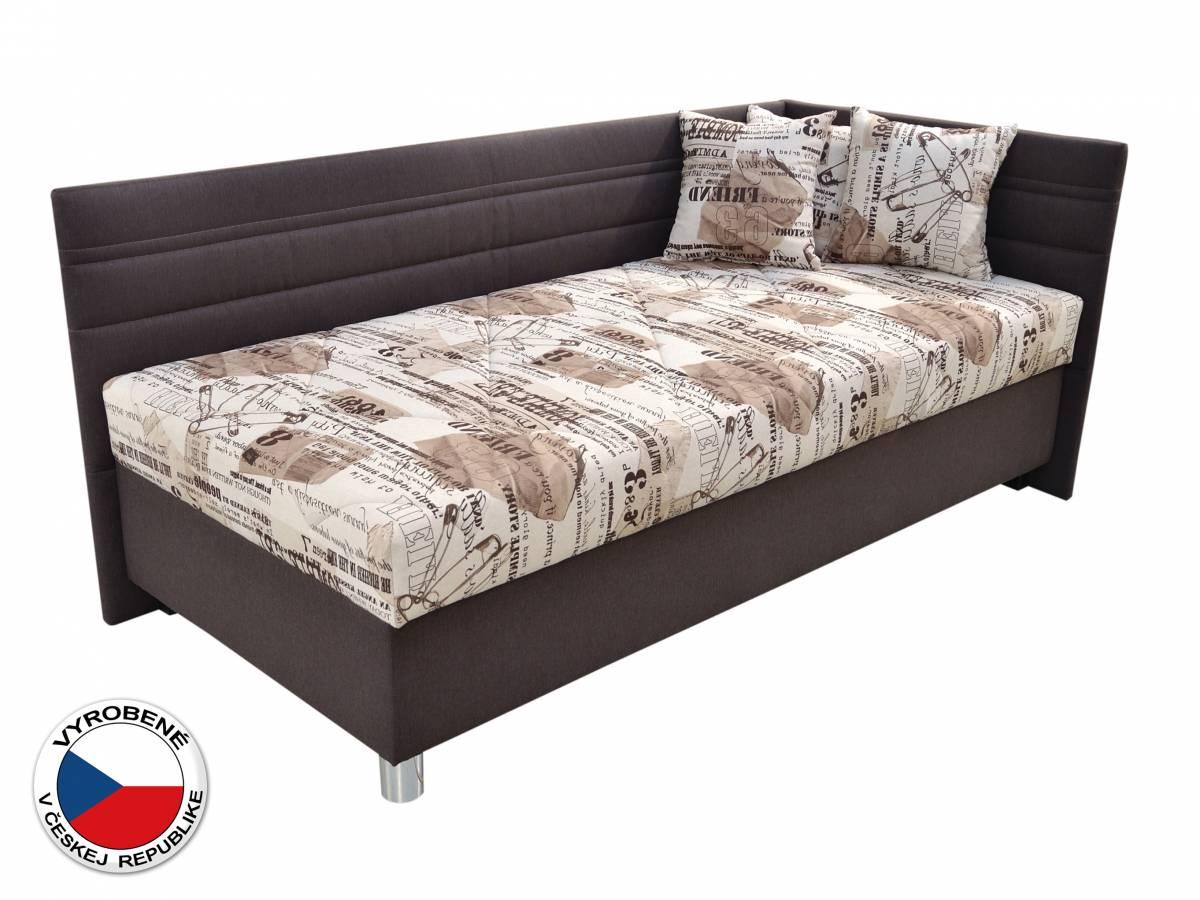 Jednolôžková posteľ 120 cm Blanár Polly (béžová + hnedá) (s roštom a matracom) (P)