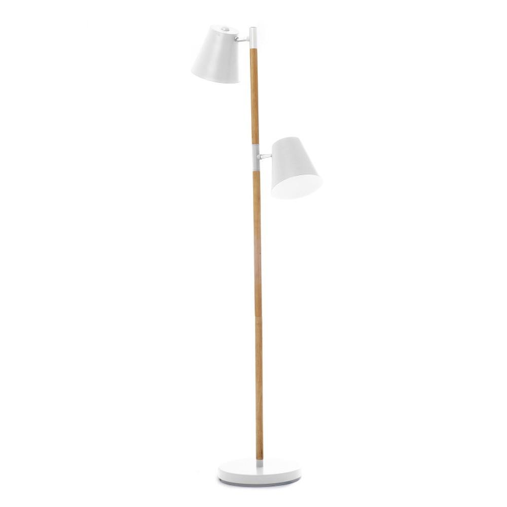 Biela voľne stojacia  lampa s drevenými detailmi Present Time Rubi