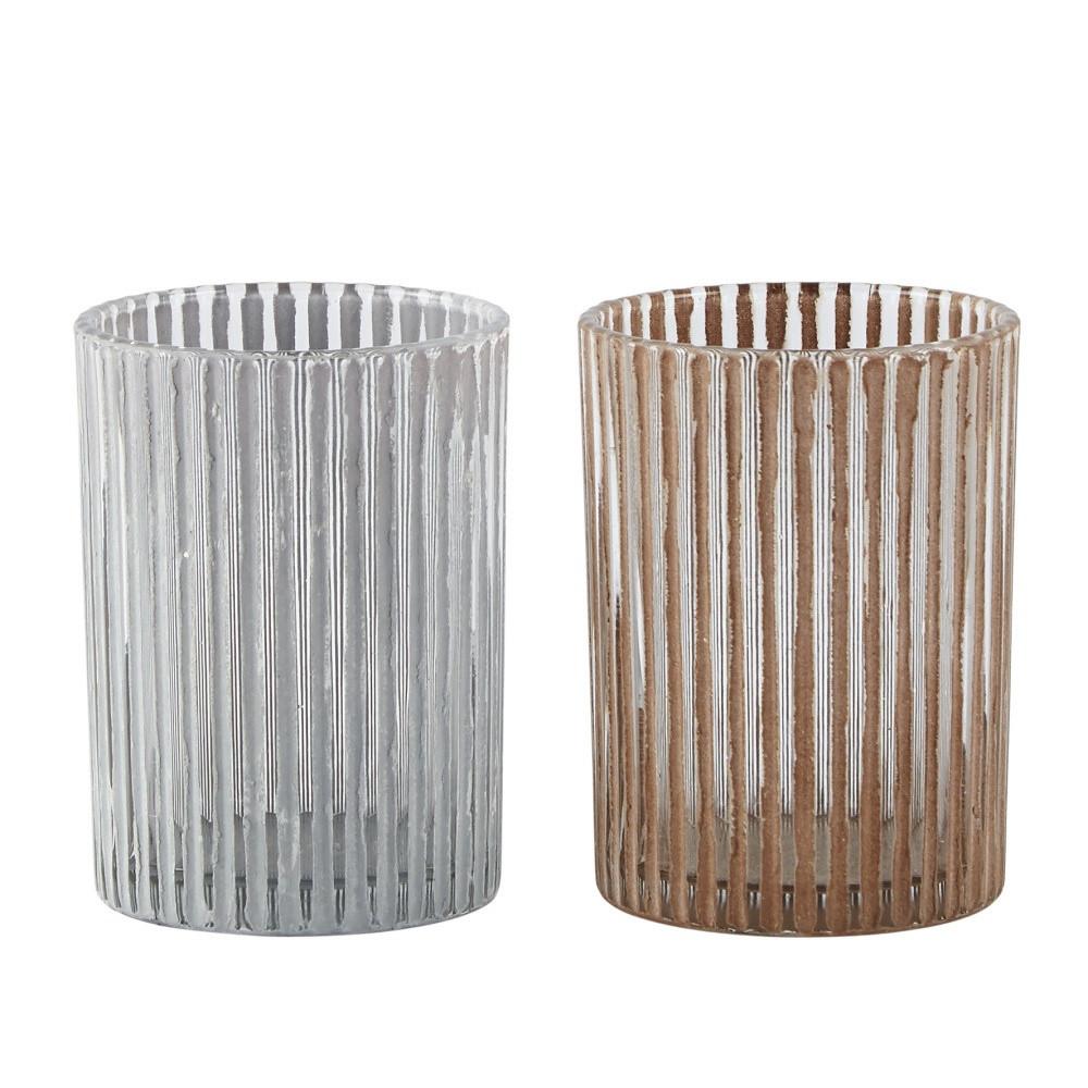Sada 2 svietnikov KJ Collection Nude Glass
