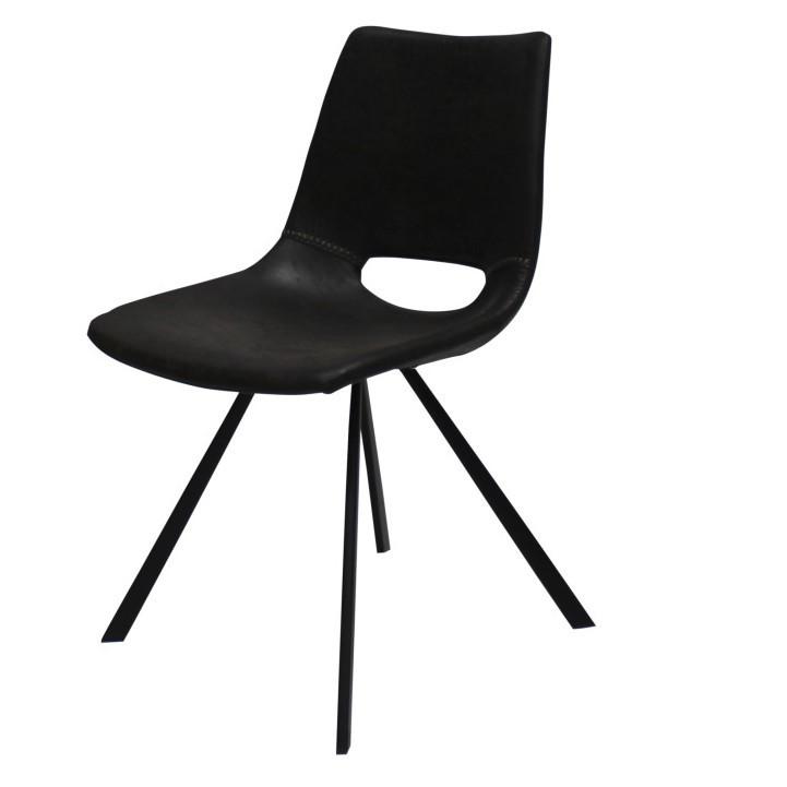 Čierna jedálenská stolička s čiernym podnožím Canett Coronas