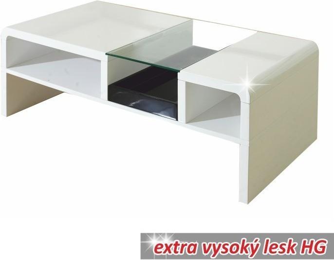 Konferenčný stolík, biela/sklo, SHAPE