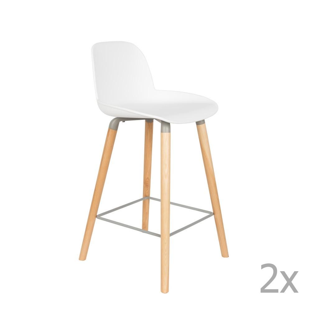 Sada 2 bielych barových stoličiek Zuiver Albert Kuip, výška sedu 65 cm