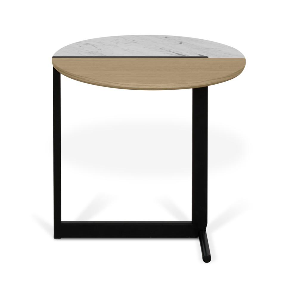Odkladací stolík s doskou v dekore duba a bieleho mramoru TemaHome Mezzo