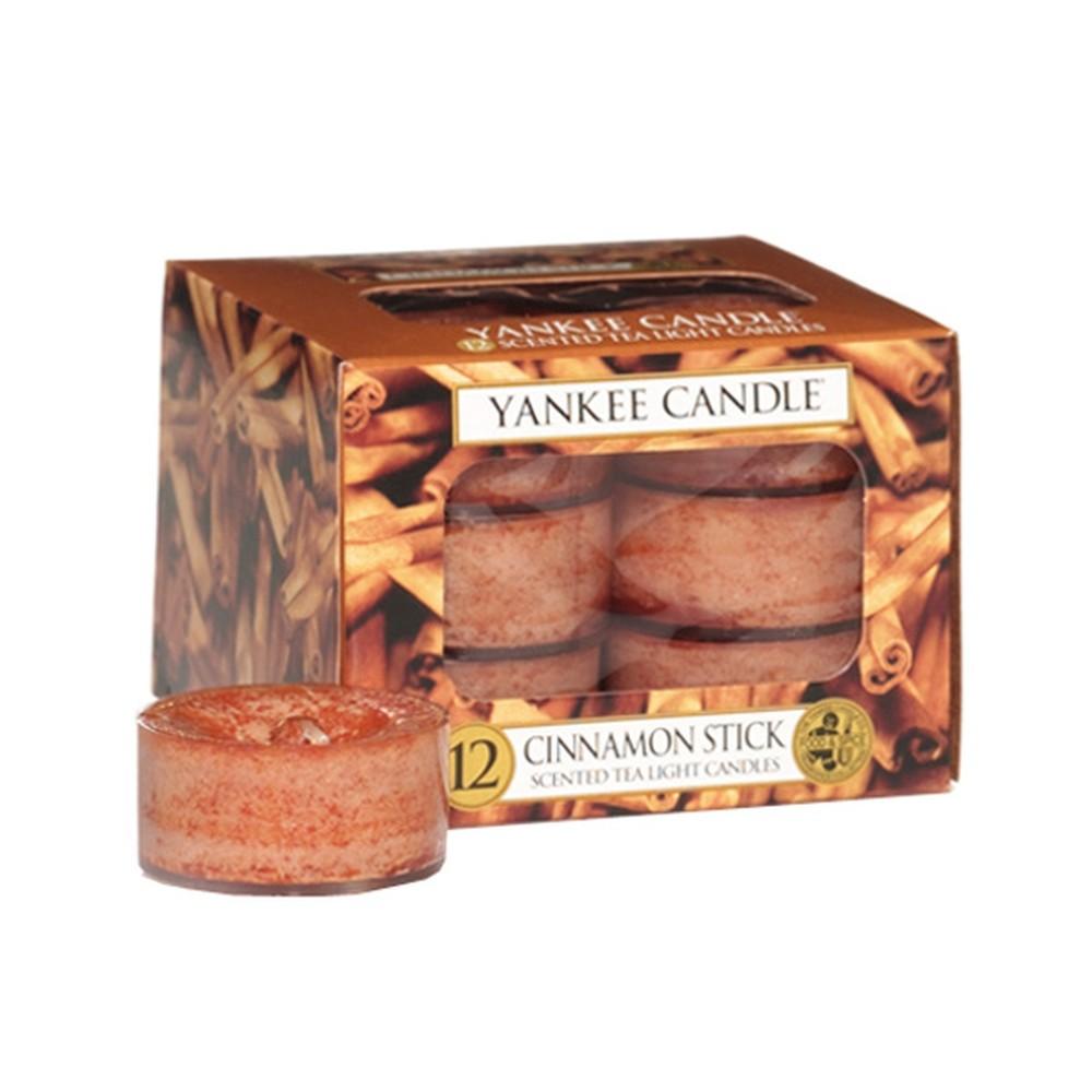 Sada 12 vonných sviečok Yankee Candle Škoricová Tyčinka, doba horenia 4 - 6 hodín